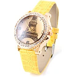 Woman Single Prong Yellow Wristband Numerals Display Wrist Watch