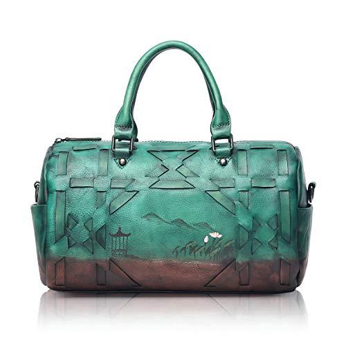 APHISON 8145 Designer-Handtaschen aus weichem Leder für Damen, Damen, Grn (grün), Medium - Grün Patent Leder Handtasche