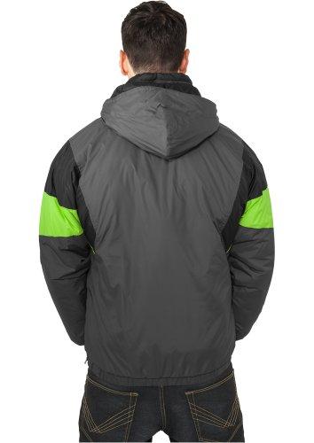 URBAN CLASSICS – Nylon Hoody (dark grey/black/lime green) – Jacke - 2