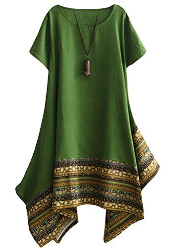 Vogstyle Damen Sommer Kleid Kurzarm Unregelmäßige Saum Ethnisch Mischfarben Baumwolle Leinen Lang Bluse Shirt Green XXL (Leinen-baumwoll-kleid)