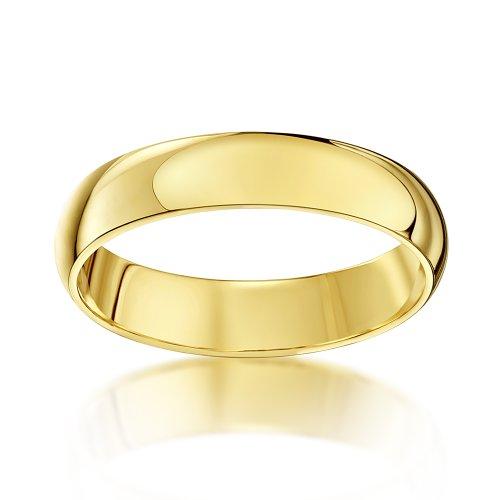 Theia Anneau de mariage unisexe - Or jaune 9ct, Forme Demi Bombée  extra lourde, poli Or Jaune