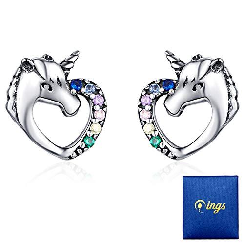 Qings Orecchini Unicorno 925 Sterline D'argento Orecchini Abbaglianti Colorati AAA Zirconi Unicorno Orecchini Regalo Di Compleanno Per Figlia e Giovane Bambina Orecchini Bambina Unicorn Heaven