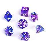 GWHOLE 7 Pezzi Dadi Poliedrici per Giochi di Ruolo con Giochi da Tavolo Dungeons And Dragons con Sacchetto Nero, Viola
