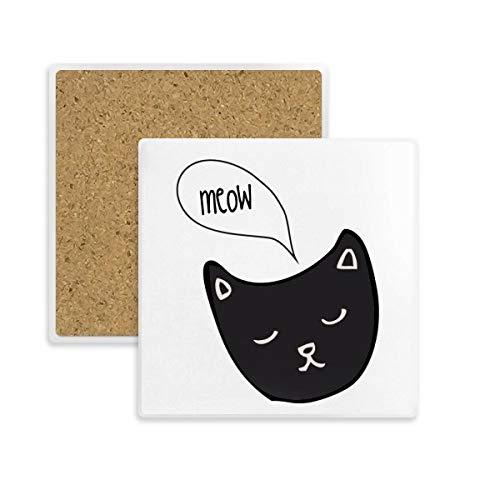 DIYthinker Schwarze Katzen-Kopf-Meow Tierplatz Coaster-Schalen-Becher-Halter Absorbent Stein für Getränke 2ST Geschenk Mehrfarbig -