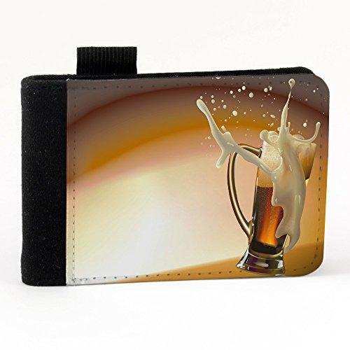 Astratto 10032, Birra, Nero Polyester Piccolo Cartella Congressi block notes Tasca Taccuino con Fronte di Sublimazione e alta qualità Design Colorato.Dimensioni A7-131x93mm.