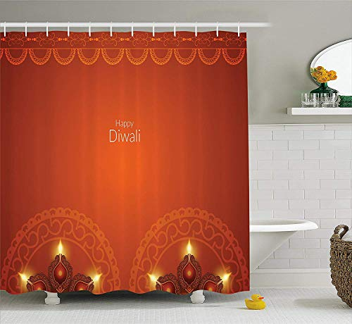 Hxincyu Diwali Decor Shower Curtain, Happy Diwali Festive Quote with Cartoon Like Abstract Image and Flowers, Fabric Bathroom Decor Set with Hooks, Pink and Yellow,66 W X 72 L Inches