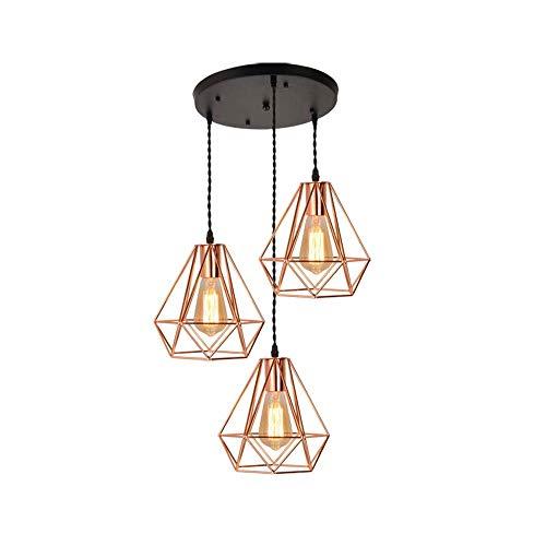 Xungzl 3-Licht Industrie Vintage Pendelleuchte Retro Eisen Diamant Küche Decke hängende Lampe Restaurant einstellbare Pendelleuchten Wohnzimmer Gang Esszimmer Cafe Kronleuchter Leuchte -