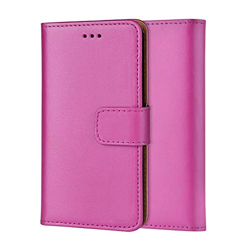 Ameego Premium Genuine Real Leather Flip Wallet Magnetic Kickstand Slim Book Case Cover for Samsung Galaxy Note 3 N9000 N9005 Leather Wallet Book Flip Case Cover (Hot Pink) - Wallet Galaxy Case 3 Note Leather