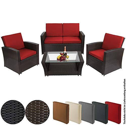 BB Sport 12-teilige Polyrattan Sitzgruppe für 4 Personen inkl. Sitzpolster und Bezüge, Farbe:Schwarz-Braun meliert/Abendsonne