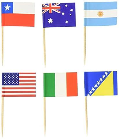 Monde Drapeau cure-dents cure-dents (boîte de 100) Pays drapeaux–International et ethniques les événements–Nourriture médiators pour les fêtes, les cocktails–cure-dents de bois et papier drapeau–Coupe du Monde de football, jeux olympiques