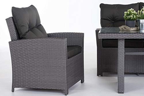 CLP Gartengarnitur FISOLO I Sitzgruppe mit 5 Sitzplätzen I Gartenmöbel-Set aus Polyrattan I Flachrattan erhältlich Grau, anthrazit