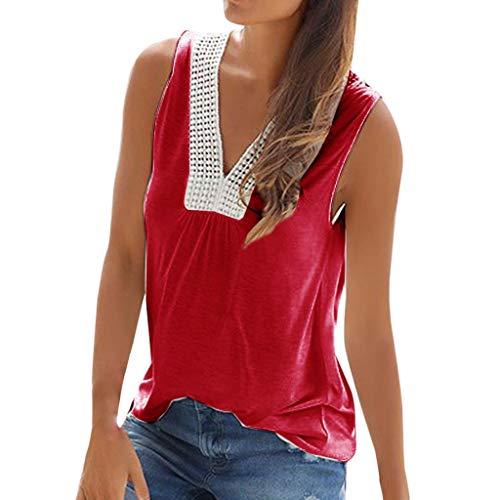 Power Ranger Kostüm Original - CAOQAO Lose Bluse T-Shirt Kurzarm Oberteil Damen BeiläUfige Feste Strand-Spitze Sleeveless V Ansatz TräGershirts Weste T-Shirt Bluse