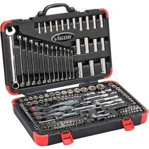Vigor Steckschlüsselsatz (1/4, 3/8 und 1/2 Zoll, Ring-Maulschlüssel-Satz, Bits und Steckschlüssel für professionellen und privaten Gebrauch, 216 Einzelteile) V3277N