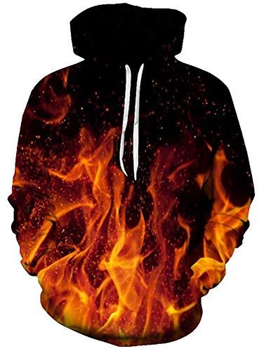 Spreadhoodie 3D Hoodies für Herren Damen Funky Feuer Rauch HD Gedruckt Pullover Mit Kapuze Leichte Sweatshirt für Casual Holiday Red & Black L Schwarze Kapuze Pullover Sweatshirt