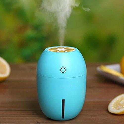 Zmsdt Tragbare Mini Luftbefeuchter Für Home 4 Farbe USB Lemon Aroma Diffusor Umidificador Aromatherapie Für Auto Ätherisches Öl Diffuse Para (Farbe : Blue) (Über-bord-Öl)