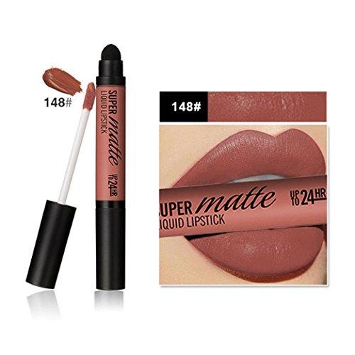 Neue Double-End Lipgloss EUZeo 12 Farben Frauen Matt Dauerhafte Wasserdichte Lip Lippenstift Schwamm Kopf (I)