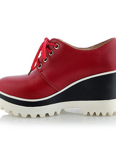 ZQ hug Scarpe Donna - Scarpe col tacco - Tempo libero / Formale / Casual - Zeppe / Plateau / Punta arrotondata - Zeppa - Finta pelle -Nero / , red-us10.5 / eu42 / uk8.5 / cn43 , red-us10.5 / eu42 / uk red-us5.5 / eu36 / uk3.5 / cn35