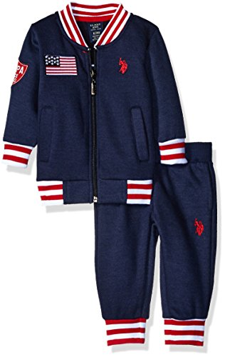 U.S. Polo Assn. Baby Boys' Fleece Jacket and Matching Pant, Navy, 6-9 Months (Us Polo Baby)