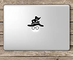 CVANU Sorting Hat and Glasses Harry Potter Laptop Vinyl Sticker (Black)