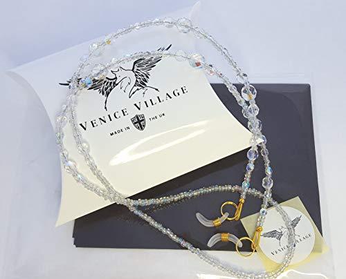 Damen Brillen Kette UK Design-Made mit Glas Perlen in klar, cyrstals-