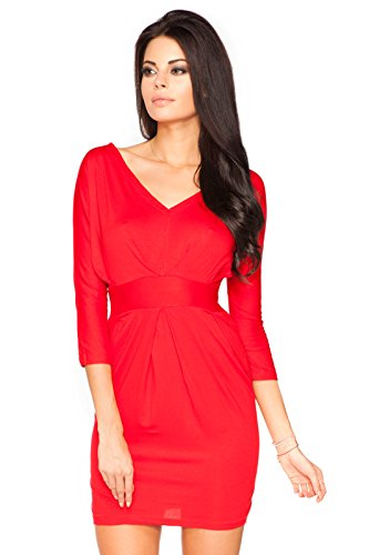 Futuro Fashion Femmes Soirée Empire Mini Robe Col V 3/4 Manche Crayon Style Pull-over 8182 Tailles 8-18 UK Rouge