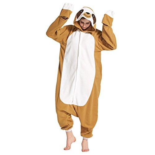 chsene Unisex Cosplay Jumpsuit Tier Onesie Pyjama Tieroutfit Schlafanzug Sleepsuit mit Kapuze Cartoon Fasching Overall Faultier S (Vorhanden Halloween-kostüm)