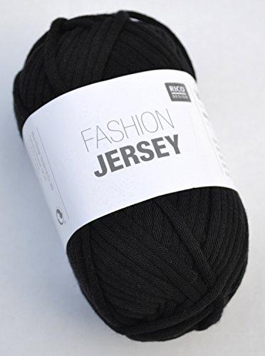 Rico Fashion Jersey Fb. 008 - schwarz, Jerseybändchengarn, Mützenwolle Baumwolle, Schlauchgarn zum Stricken & Häkeln (Wolle-jersey Schwarze)