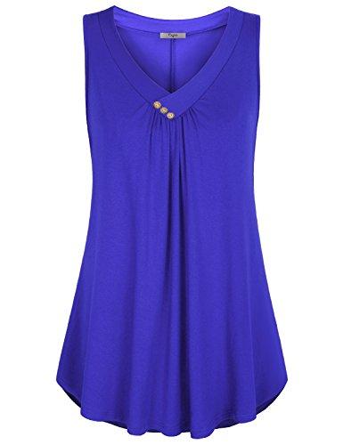 Cestyle Damen ärmelloses V-Ausschnitt Hemd Flowy Tank Tops - blau - (48 DE) XX-Large (Womens Plus Größe Kleidung Capris)