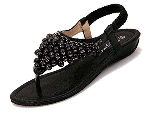 Fortuning's JDS Grazioso comodità di perle sandali T-Strap con cinturino alla caviglia elastica Nero