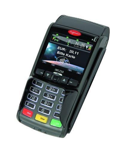 mobiles EC Kartengerät IWL250 Bluetooth/ LAN (Reichweite: 100m), Unbegrenzte Garantie auf die Hardware, Ideal für Restaurant, Biergarten, Bar, Strandcafe, Apotheken, etc. Inklusive Gutscheinfunktion, inklusive 25 eigene Gutscheinkarten (über das Terminal wieder aufladbar)