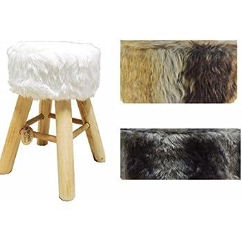 fellhocker hocker sitzhocker shemel fu hocker holz felloptik stuhl fell neu wei. Black Bedroom Furniture Sets. Home Design Ideas
