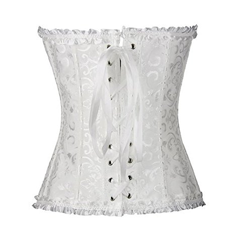 PhilaeEC Frauen Bridal Wäsche schnürt sich oben Satin ohne Knochen Korsett mit G-Schnur (Weiß, 4XL) - 4