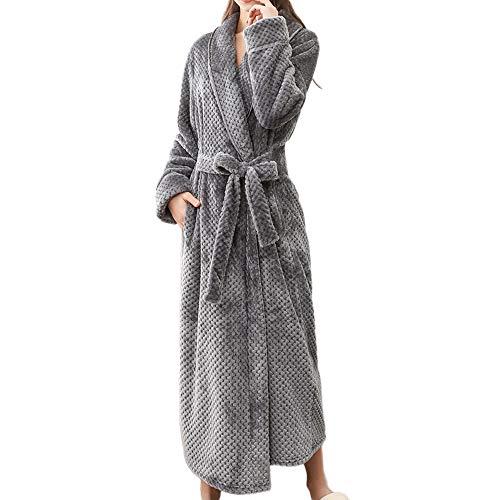 Bademäntel Nachtwäsche für Herren Und Damen,PPangUDing Morgenmantel Modisch Einfarbig Lang Herbst Winter Dicke warme superweicher mit Gürtel saunamantel Pyjama Bathrobe Robe Hause Kleidung -