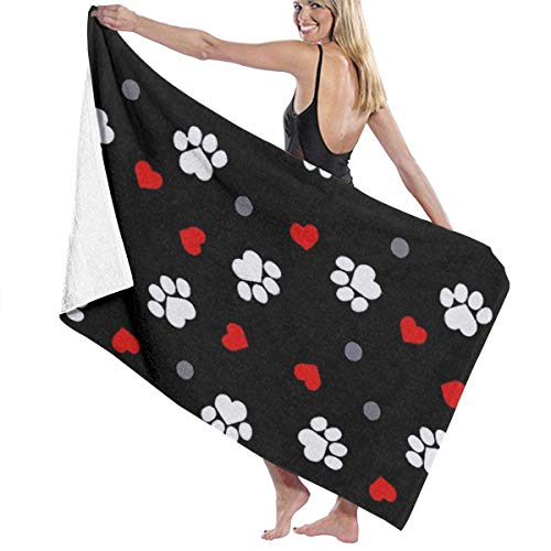 Bath Towels, Paw Prints and Hearts On Black Hand Towels 100% Polyester Beach Towel Ultra Absorbent Salon Towel Quick Drying Bath Sheets for Home Hotel Spa, 31.5X51.2inches/80X130cm