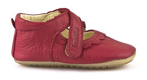 Froddo Leder Babyschuhe Hausschuhe Gummisohle T-Strap Spangenschuhe (23, Rot)