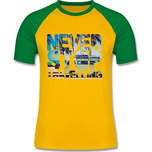Shirtracer Statement Shirts - Never Stop Travelling Meer Palmen - Herren Baseball Shirt Gelb/Grün