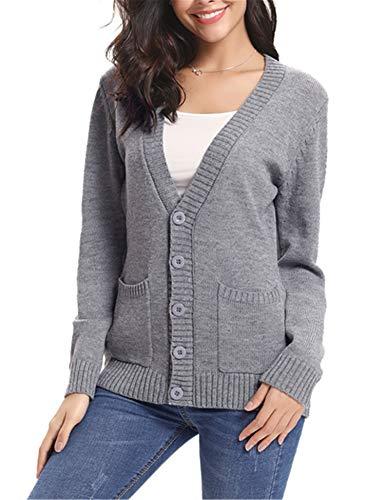 Gilet Femme Tricot avec Poches Veste Chandail Boutons Cardigan Chic Crochet  Sweater Ouvert Elégant. d921145eca27