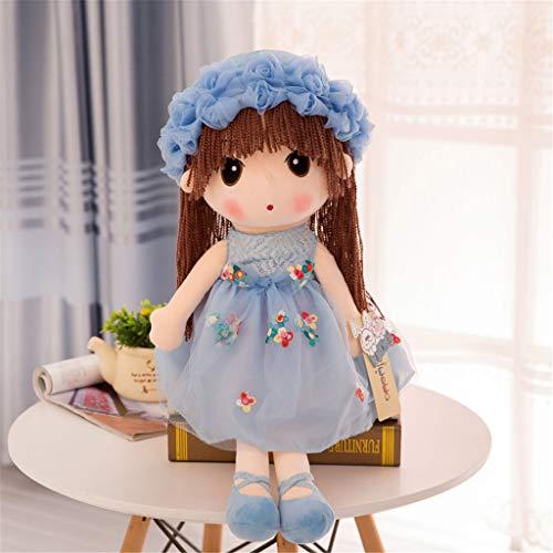 Miss Zhang's shop Peluches Carino Piccola Principessa Cuscino Peluches Bambola Comfort Sonno 35Cm Blu Peluche Giocattoli
