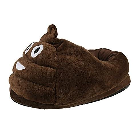YUMOMO Unisex Herren und Damen nett Emoji Cartoon weichem Plüsch warme Pantoffeln schlüpfen 35-41 (defäkieren, braun)