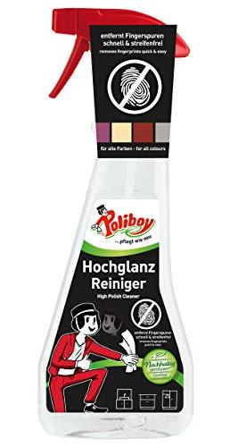 Poliboy - Hochglanz Möbel Reiniger - speziell für Hochglanzflächen - entfernt Fingerspuren schnell und streifenfrei - Einzeln - 375 ml - Made in Germany
