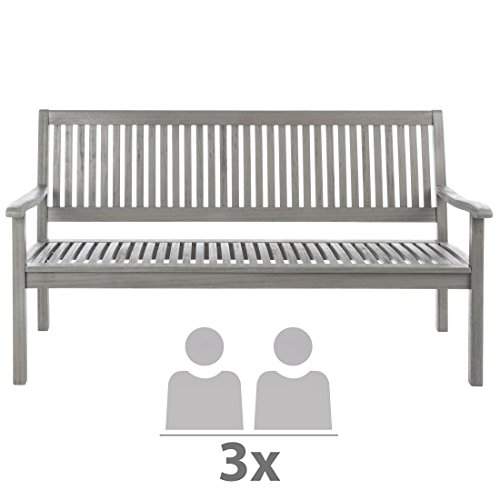Ultranatura Gartenbank 3-Sitzer, Edles und Hochwertiges Eukalyptusholz, 152 cm x 66 cm x 86 cm - 3