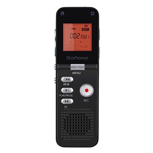 Starhonor 8GB Registratore Vocale Digitale Voice Recorder con Display LCD MP3 Player per Lezione Riunione Intervista ecc - Nero