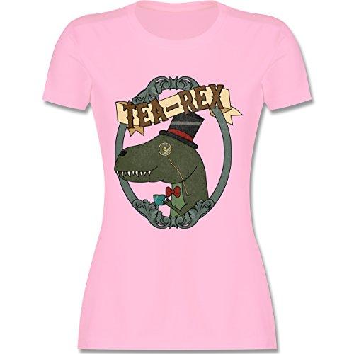 Comic Shirts - Tea-Rex - tailliertes Premium T-Shirt mit Rundhalsausschnitt für Damen Rosa
