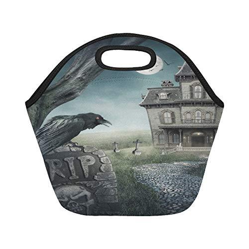Isolierte Neopren-Lunch-Tasche Haunted House Spooky Graveyard Große, wiederverwendbare, thermische, dicke Lunch-Tragetaschen Für Brotdosen Für den Außenbereich, Arbeit, Büro, Schule