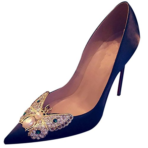 Oasap Women's Pointed Toe Butterfly Rhinestone Party Pumps Black