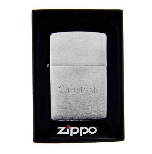 Original Zippo Feuerzeug mit Gravur in silber - Geschenk für Mann (Gravur: Druckschrift)