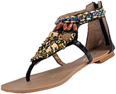 Mujeres Sandalias,Internet zapatos étnicos de estilo bohemio con cuentas Beach