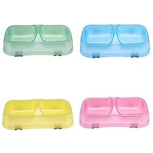La Cabina Gamelle Chien Double en Plastique Bols Anti-dérapants pour Chat Distributeur Eau Chiens