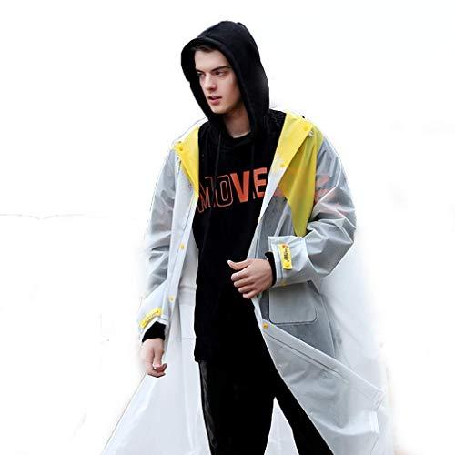 XHCP Regenmantel Regenmantel Jacke weiblich männlich erwachsen Eva Wandern im Freien Reiten Single Big Hat Regenmantel Farbabstimmung Design mit Rucksack/Tasche/Belüftungsloch (S-XXXL-Code op (Op-hut Herren)