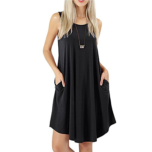 Dresses Women's Summer Casual Sleeveless Multi Color Swing Dress Sundress with Pockets (Black UK 12)